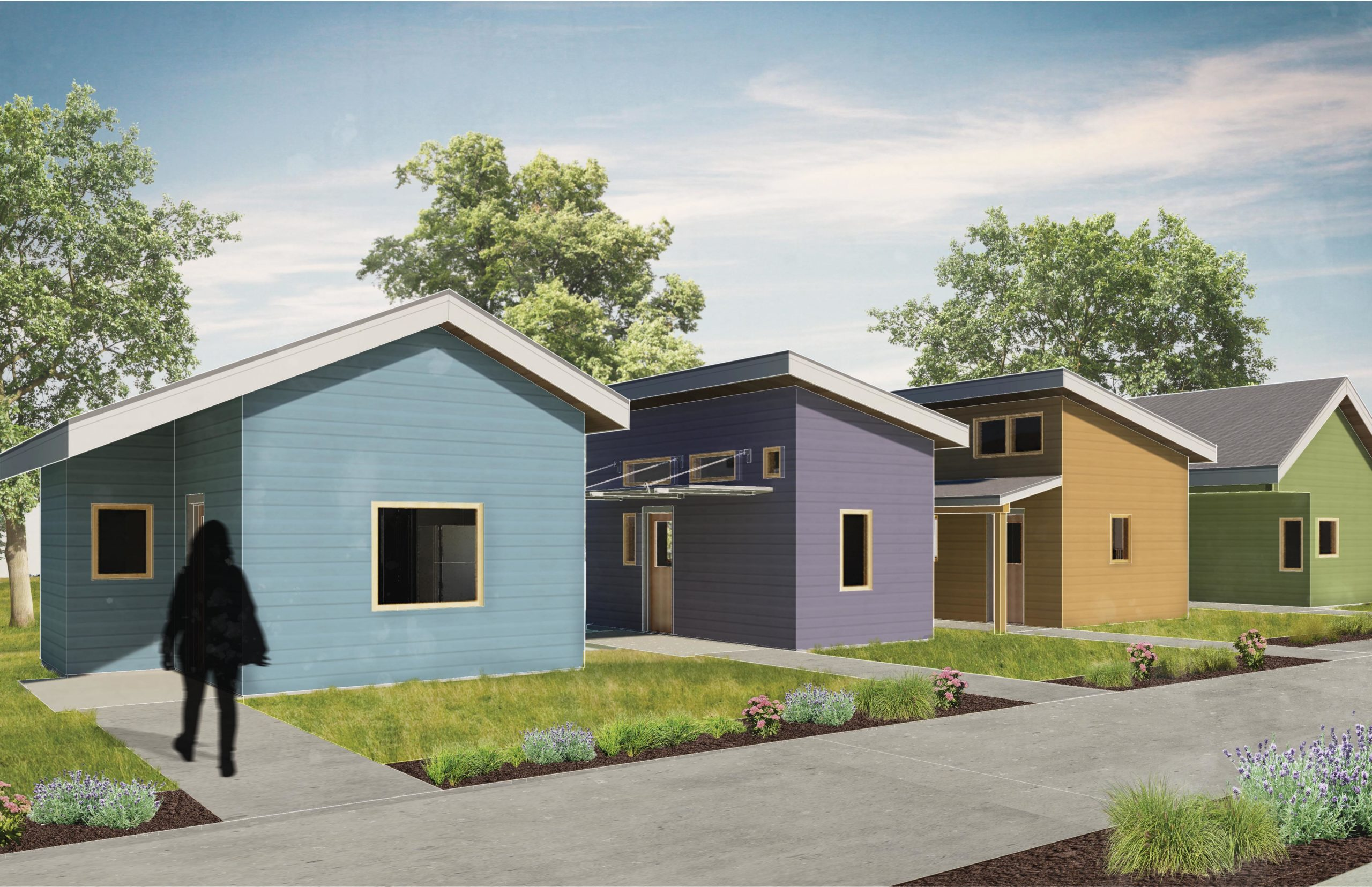 HRDC Housing first village tiny home sketch